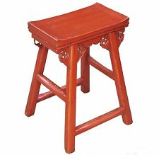 A Chinese Red Elm Wood High Leg Stool Nicely Carved 4 Sides Transitional Clouds
