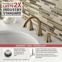 Delta Faucet Champagne Bronze 2-Handle Widespread Bathroom Faucet Metal Drain
