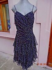 Vintage Chiffon Polka Dots black dress ruffles corset back sleeveless size 6-8