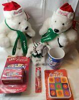 Vintage Coca-Cola collectibles lot 7, Polar Bears, Mug, Uno, Lipsmacker, Coaster