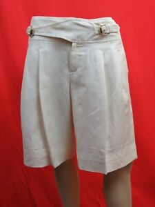 NWT GUCCI 171894 OFF WHITE LINEN BELTED GOLD 2 X BUCKLE SHORTS 40 $695 ITALY
