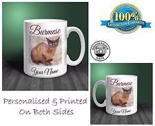 Burmese Cat Personalised Ceramic Mug: Perfect Gift. (CA10)