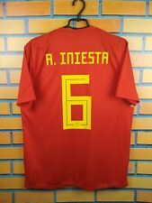 Iniesta Spain soccer jersey large 2019 home shirt CX5355 football Adidas