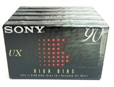 5 SONY UX90 NEW SEALED HIGH BIAS TYPE II CASSETTE TAPES LOT NAKAMICHI AKAI AIWA