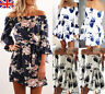 UK Womens Summer Off Shoulder Floral Short Mini Dress Ladies Beach Party Dresses