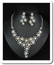 Schmuck Set Collier Halskette Ohrstecker Strass Perlen Imität Blumen  Versilbert