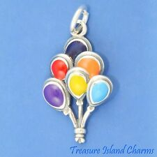 ENAMEL BIRTHDAY MULTICOLORED BALLOONS .925 Sterling Silver Charm 18mm
