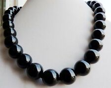 10mm Black Agate Onyx Gemstone Round Ball Beads Necklace 18'' JN8
