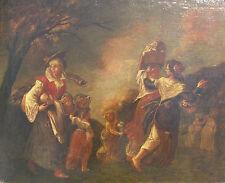 VIANDANTI in un PAESAGGIO OLIO su tela cm 59x71 FIAMMINGO XVII secolo '600