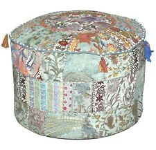 """22"""" Decorative Cotton Indian Floor Cushion Cover Vintage Embroidered Patchwork"""