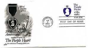 U603 The Purple Heart  embossed envelope,  ArtCraft, FDC