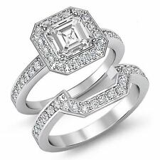 Asscher Diamond Bridal Set Pave Engagement Ring GIA H SI1 14k White Gold 2.4 ct