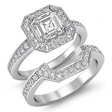 Asscher Diamante Set Nupcial Pavé Anillo de Compromiso GIA H SI1 14k Oro Blanco
