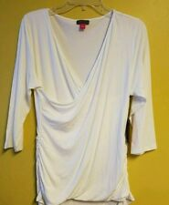 NWT VINCE CAMUTO WOMEN'S HIGH-LOW RUCHED SIDES TOP BUTTERCREAM SIZE MEDIUM.