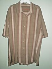 Tommy Bahama Men's Shirt Brown with Orange Tan Stripes Buttons Size L 100% Silk