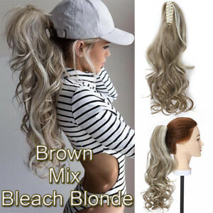 """18"""" Hairpieces Ponytails Claw On Clip In Hair Extensions Pieces Long Pony Tail"""