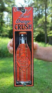 VINTAGE OLD DRINK ORANGE CRUSH PORCELAINOLD WOODEN DOOR SIGN POP SODA