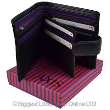 NEW Mens Quality Black & Purple LEATHER WALLET by AXIS Gift Boxed MALA Stylish
