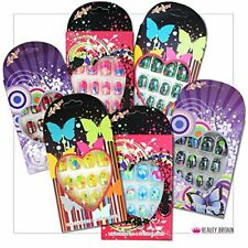 12 Sets x Kids False Nails Pre-Glued Individually Boxed Many Designs Colours 12