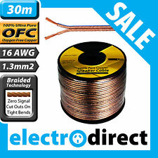 30m 16AWG (1.3mm2) Speaker Cable Reel 100% Pure Copper OFC - 16 Guage Wire Roll