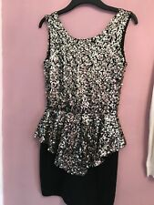 Black & Gold Sequin Peplum Dress Size 10