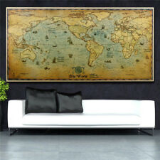 The Old World Map Retro Paper Poster Sticker Coffee Room Home Office Art Decor