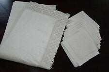 natural autehntic vintage lithuanian 100%linen flex tablecloth and 12napkins set