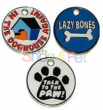 Dog ID Tag PET Tags, Quality 25mm Novelty Designs, Chrome Back,  ENGRAVED FREE,
