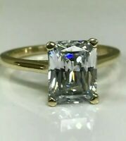 Radiant Cut Diamond Solitaire Promise Engagement Ring 2.0ct 14K Yellow Gold Over