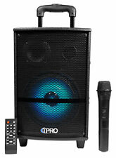 Technical Pro WASP810B Rechargeable Portable Bluetooth Speaker+LED's+Microphone