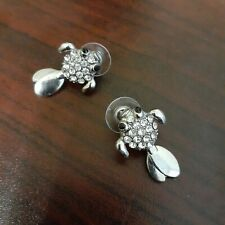 Fish Earring Silver Tone with Rhinestones tail moves