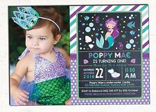 Little Mermaid Invitation First 1st Birthday Invite Pool Party Shower Supplies