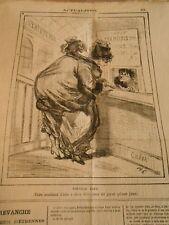 Caricature 1873 - Faire Semblant d'être à deux têtes pour payer qu'une place