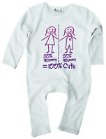 "Dirty Fingers Baby Romper suit ""50% Mummy 50% Mummy"" LGBT Gay Lesbian Pride"