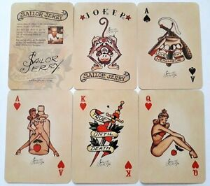 VINTAGE PLAYING CARDS SAILOR JERRY NON STANDARD TATTOO 52 + 2J + 2H 1979