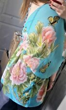 Accessorize Womens Turquoise Floral Butterfly Beach Kaftan Cover Up Size UK M 12