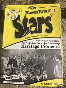 Hometown Stars Cereal Box Heritage Pioneers Lynchburg Football Sealed AA153