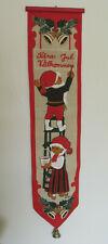 "Vintage Swedish ""Kara Jul Valkommen"" Burlap Linen Christmas Wall Door Hanging"