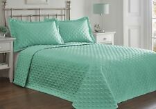 Portfolio Faux Silk Bedspread and 2 Pillowcase Quilted Throw Over Set MINT Blue