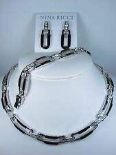 Swarovski Crystals & Black Enamel 0895 Nina Ricci Rhodium Plated Set with