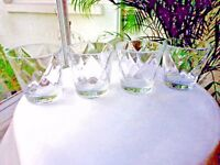 Set of 4 High Quality Double Old Fashioned Rocks Glasses Diamond Pattern