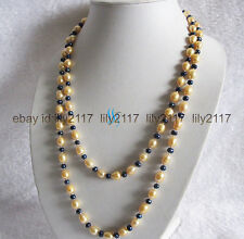 Fashion natural 5-6mm black & 9-10mm Gold freshwater pearl necklace 36 inches