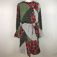 Libby Edelman Women's Small Dress Floral Patchwork Red Green Black White