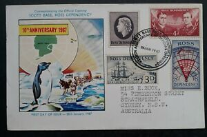 RARE 1967 Ross Dependency 10th Anniv Opening FDC ties 4 stamps Scott Base