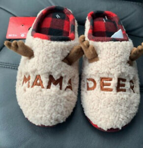 MAMA DEER Slippers Sherpa Fleece Buffalo Plaid Slip On Rubber Sole Size M 9/10