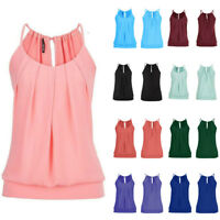 Women Summer Loose Wrinkled O Neck Cami Tank Tops Hollow Out Back Vest Blouse