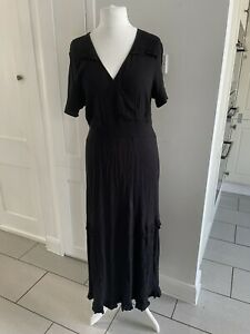 NEXT Black Crinkle Ruffle Trim Faux Wrap Front Maxi Dress Size 18