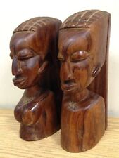 Vintage Solid Carved Wood African Male & Female Bookends