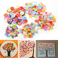 100X Multicolor Sewing Plastic Round Buttons 4 Holes for Kid DIY Craft 9~20mm NT