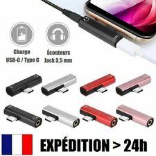 2 en 1 Mini Adaptateur USB-C Type C + Jack 3,5mm AUX Audio Écouteurs Casque
